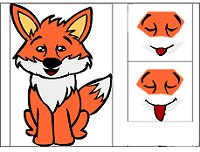 Fox: This time only the changing parts of the fox are animated.