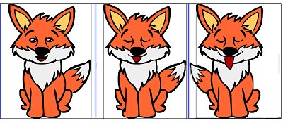 Fox: Most parts of the fox remains the same. Only the mouth and eyes change.