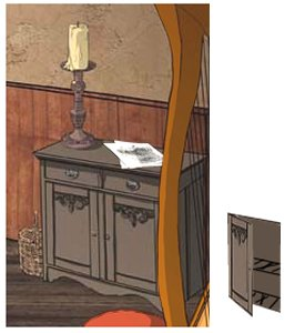 The cabinet in the background and the open door as an image.