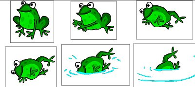 Frog: No part of the frog is the same in different frames and no part is in the same place.